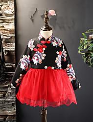 abordables -Robe Fille de Noël Sortie Imprimé Coton Polyester Hiver Manches Longues Chinoiserie Noir