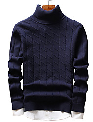 cheap -Men's Going out Casual/Daily Simple Cute Street chic Regular Pullover,Solid Turtleneck Long Sleeves Polyester Spandex Winter Fall Thick