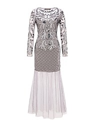 cheap -The Great Gatsby 1920s Costume Women's Party Costume Masquerade Cocktail Dress Black Gray Beige Vintage Cosplay Polyster Long Sleeves Bell