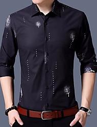 Masculino Camisa Social Casual Activo Outono,Estampado Algodão Colarinho de Camisa Manga Comprida Média