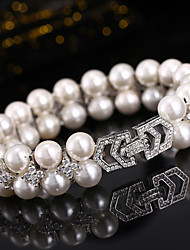 cheap -Women's Bracelet Rhinestone Basic Imitation Pearl Silver Plated Jewelry For Wedding Party