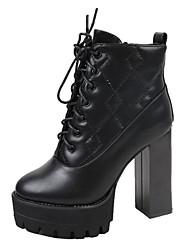 Feminino Sapatos Couro Ecológico Primavera Outono Conforto Curta/Ankle Botas Salto Robusto Botas Curtas / Ankle para Casual Preto