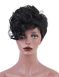 cheap -Synthetic Wig Jerry Curl With Bangs Synthetic Hair Dark Roots Black Wig Women's Short Natural Wigs Capless
