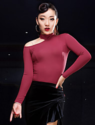 cheap -Latin Dance Tops Women's Performance Modal Pleated Long Sleeve Natural Tops
