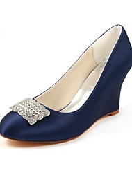cheap -Women's Shoes Stretch Satin Spring Fall Basic Pump Wedding Shoes Wedge Heel Round Toe Crystal for Party & Evening Dress Dark Blue