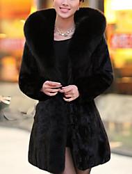 Недорогие -Жен. На выход Зима Осень Пальто с мехом V-образный вырез,Простой Однотонный Обычная Длинные рукава,Искусственный мех,Меховая оторочка
