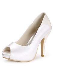 preiswerte -Damen Schuhe Seide Frühling Sommer Pumps Hochzeit Schuhe Stöckelabsatz Peep Toe Glitter für Hochzeit Party & Festivität Weiß