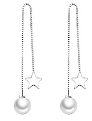 cheap -Women's Pearl Tassel Drop Earrings - Imitation Pearl Star Simple, Korean, Fashion Silver For Daily