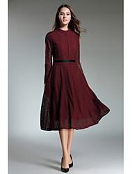 baratos -Mulheres balanço Vestido Sólido Colarinho Chinês
