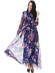 baratos -Mulheres Casual Bainha Vestido Floral Decote V Cintura Alta Longo / Outono / Inverno