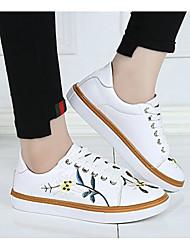 Feminino Sapatos Couro Ecológico Primavera Outono Conforto Tênis Raso para Casual Branco