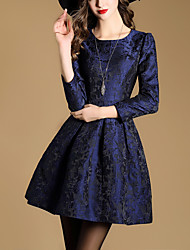 Dámské Vintage Denní Volné Šaty Jednobarevné,Krátké rukávy Kulatý Midi Bavlna Akryl Zima Vysoký pas Lehce elastické Neprůhledné
