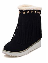 Недорогие -Для женщин Обувь Дерматин Зима Зимние сапоги Ботинки Платформа Круглый носок Сапоги до середины икры Заклепки для Повседневные Черный