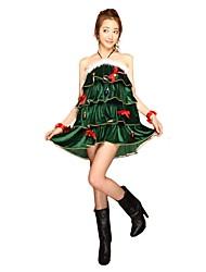 baratos -Vestido de Natal Mulheres Natal Festival / Celebração Trajes da Noite das Bruxas Verde Escuro Natal Natal