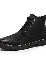 cheap -Men's Shoes Leatherette Winter Spring Fashion Boots Boots Booties/Ankle Boots for Casual Black Gray