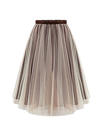 cheap -Women's Petite Casual/Daily Knee Length Skirts, Simple Cute Street chic Swing Polyester Solid All Seasons