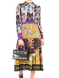cheap -Women's Going out Simple Sheath Dress,Floral Shirt Collar Midi Long Sleeve Polyester Winter Fall High Rise Micro-elastic Thin