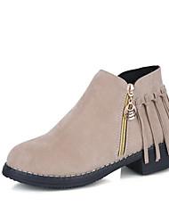 Feminino Sapatos Couro Ecológico Inverno Conforto Coturnos Botas Ponta Redonda Botas Cano Médio Para Casual Preto Bege