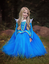 cheap -Princess / Cinderella / Fairytale Dress Christmas / Masquerade Festival / Holiday Halloween Costumes Blue / Pink Color Block Dresses / Mesh Adorable