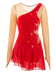 abordables -Robe de Patinage Artistique Femme Fille Patinage Robes Rouge Haute élasticité Vêtements de Plein Air Utilisation Tenue de Patinage