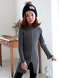 cheap -Girls' Solid Sweater & Cardigan,Polyester Fall Long Sleeve Simple Gray