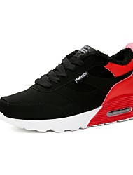 cheap -Men's Shoes PU Winter Fall Fluff Lining Comfort Athletic Shoes Running Shoes Null / for Athletic Outdoor Black/Red Black/White