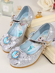 cheap -Girls' Shoes Microfibre Spring Fall Tiny Heels for Teens Heels Bowknot for Casual Silver Purple Blue Pink
