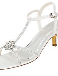 abordables -Femme Chaussures Satin Elastique Eté Escarpin Basique Chaussures de mariage Talon Cône Bout ouvert Cristal Ivoire / Soirée & Evénement