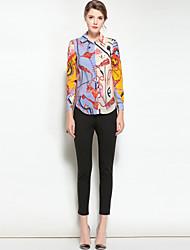 baratos -Mulheres Camisa Social Vintage Estampado Colarinho de Camisa
