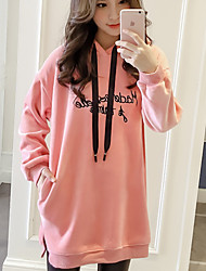 cheap -Women's Petite Going out Simple Hoodie Solid Hooded Hoodies Micro-elastic Cotton Long Sleeve Winter Fall