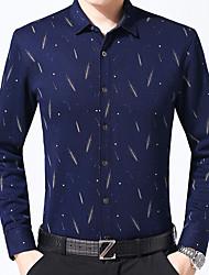 Masculino Camisa Social Casual Trabalho Vintage Inverno,Estampado Algodão Colarinho de Camisa Manga Comprida Grossa