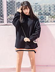 abordables -Mujer Tallas pequeñas Sudadera Casual/Diario Simple Un Color Con Capucha Sudaderas Microelástico Algodón Mangas largas Otoño