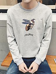 Herrer I-byen-tøj Sweatshirt Trykt mønster Rund hals Polyester Mikroelastisk Langt Ærme Efterår