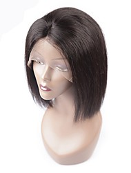 cheap -Remy Human Hair Lace Front Wig Wig Brazilian Hair Straight With Baby Hair 130% Density Natural Hairline Women's Short / Medium Length Human Hair Lace Wig