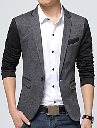 cheap -Men's Daily Work Casual Winter Fall BlazerColor Block V Neck Long Sleeve Regular Cotton Acrylic Polyester