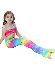 cheap -The Little Mermaid Bikini Swimwear Kid's Christmas Masquerade Festival / Holiday Halloween Costumes Rainbow Rainbow Mermaid and Trumpet