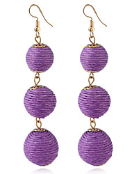 cheap -Women's Long Drop Earrings - Ball Simple, Bohemian, Fashion Purple / Red / Blue For Daily