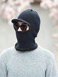 Недорогие -Для мужчин На каждый день Широкополая шляпа,Зима Вязанная Однотонный Трикотаж Черный Серый