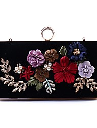 cheap -Women's Bags Polyester Evening Bag Crystals / Embroidery / Pearls Black