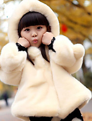 cheap -Girls' Daily Solid Jacket & Coat,Faux Fur Cotton Long Sleeves Cute Casual Fuchsia Beige Red