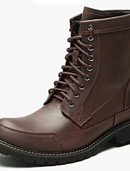 cheap -Men's Shoes Nappa Leather Winter Fall Cowboy / Western Boots Bootie Combat Boots Boots Booties/Ankle Boots for Casual Outdoor Coffee Black