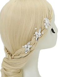 cheap -Crystal Imitation Pearl Alloy Hair Pin 3 Wedding Special Occasion Headpiece