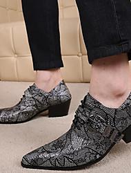 Masculino sapatos Pele Napa Primavera Outono Conforto Sapatos formais Oxfords para Casual Festas & Noite Dourado Cinzento