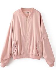 preiswerte -Damen Solide Einfach Ausgehen Jacke,Rundhalsausschnitt Winter Herbst Langärmelige Standard Polyester