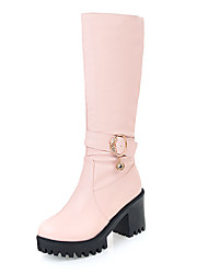 cheap -Women's Shoes PU Leatherette Winter Fall Fashion Boots Boots Chunky Heel Round Toe Mid-Calf Boots Knee High Boots Buckle for Party &