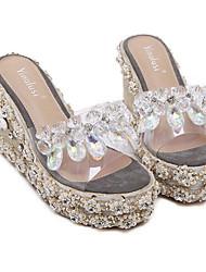 preiswerte -Damen Schuhe PVC Leder Frühling Sommer Komfort Sandalen Keilabsatz für Normal Grau