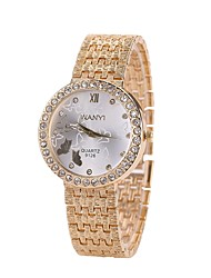 abordables -Femme Quartz Montre Bracelet Chinois Imitation de diamant Alliage Bande Luxe Décontracté Montre Habillée Mode Doré