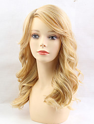 cheap -Body Wave With Bangs Machine Made Human Hair Wigs Side Part Long Natural Black Medium Auburn Beige Blonde//Bleach Blonde