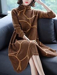 economico -Per donna Largo Vestito - Con stampe Colletto alla coreana