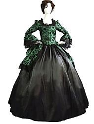 economico -Gotico Punk Vintage Vittoriano Anni '60 Per donna Per adulto Un Pezzo Vestiti Cosplay Verde Fantasia floreale Svasata Manica a 3/4 Alla